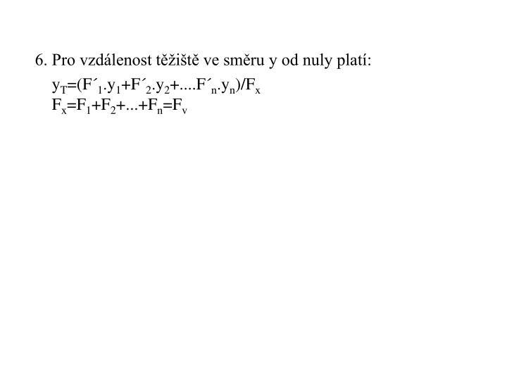 6. Pro vzdálenost těžiště ve směru y od nuly platí: