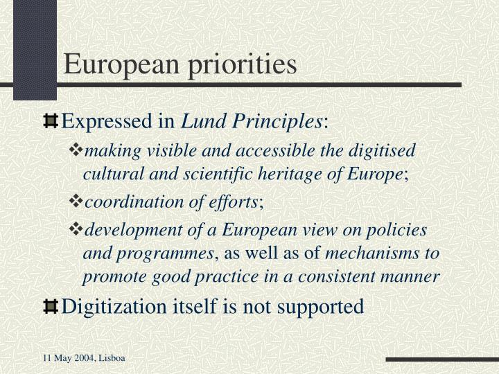 European priorities