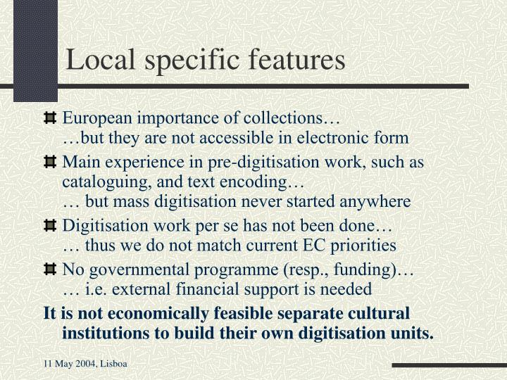 Local specific features
