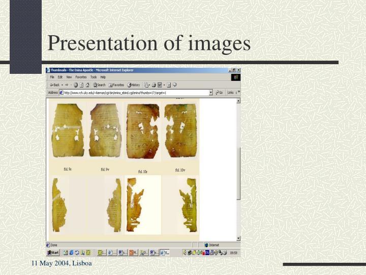 Presentation of images