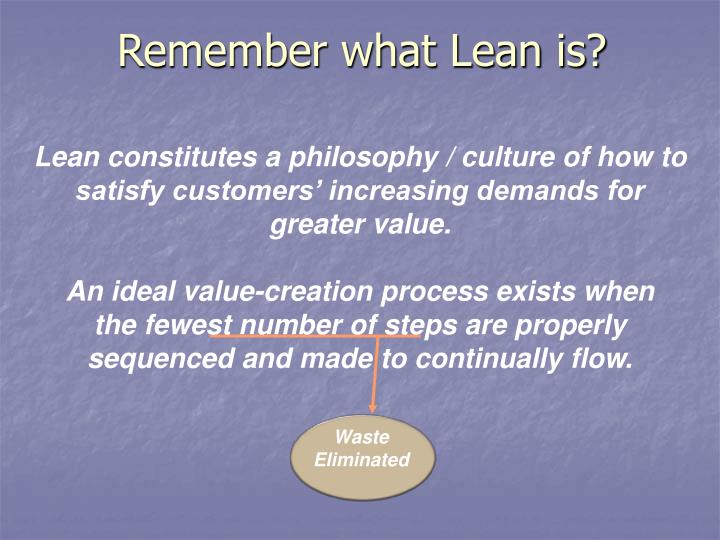 Remember what Lean is?