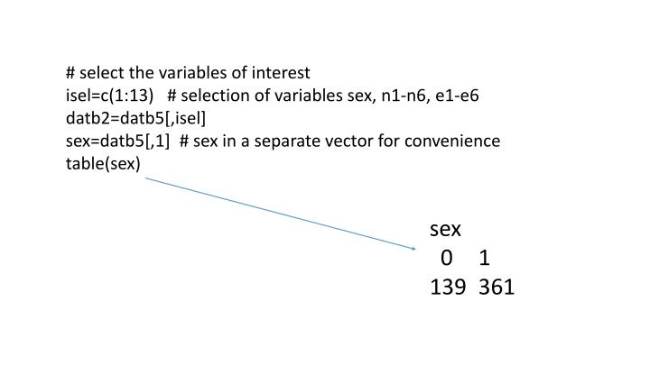 # select the variables of interest