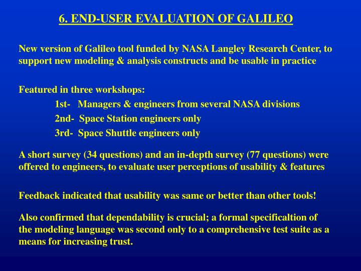 6. END-USER EVALUATION OF GALILEO