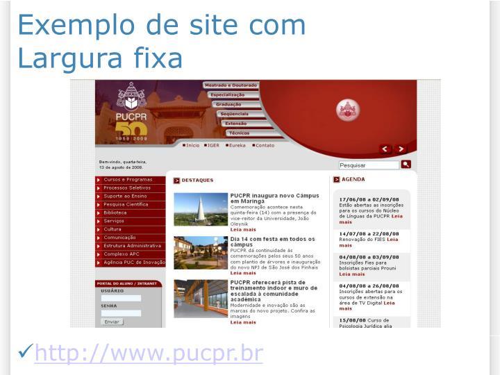 Exemplo de site com Largura fixa