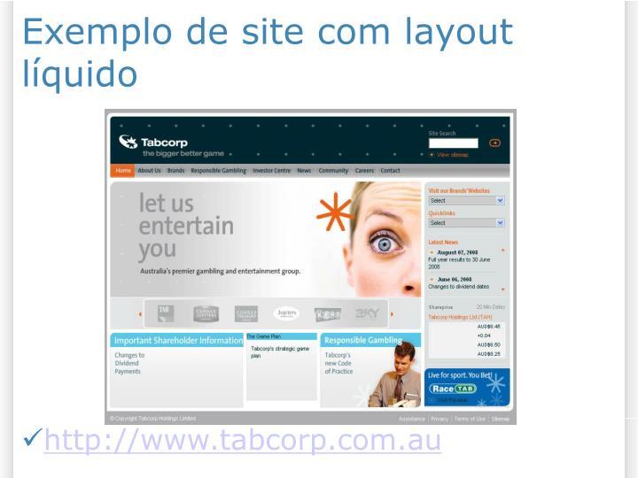 Exemplo de site com layout líquido