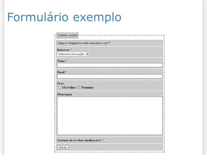 Formulário exemplo