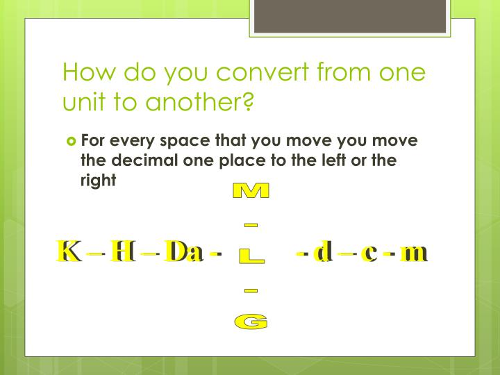 How do you convert from one unit to another?
