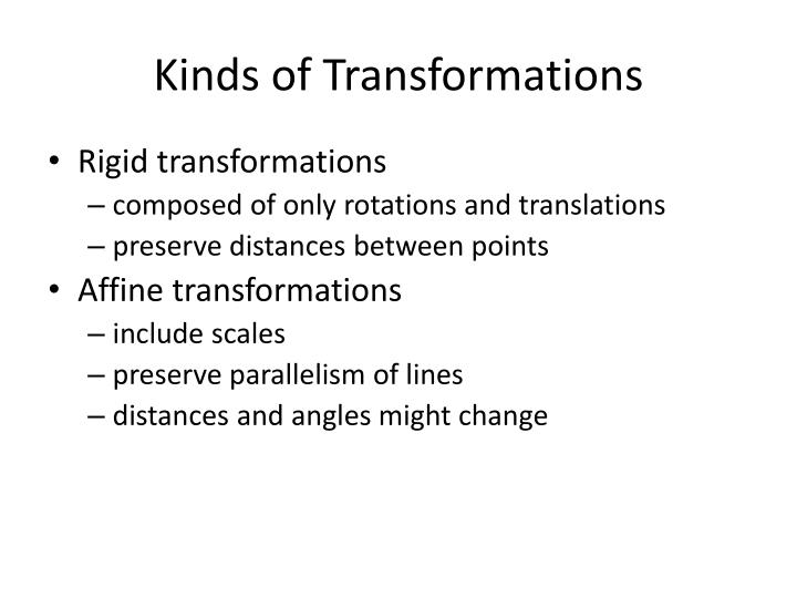Kinds of Transformations