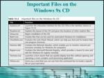 important files on the windows 9x cd