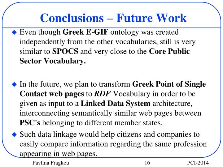 Conclusions – Future Work