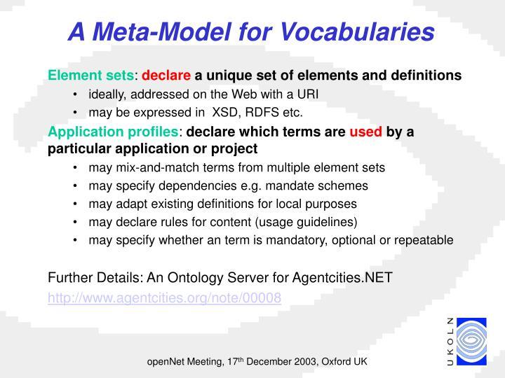 A Meta-Model for Vocabularies