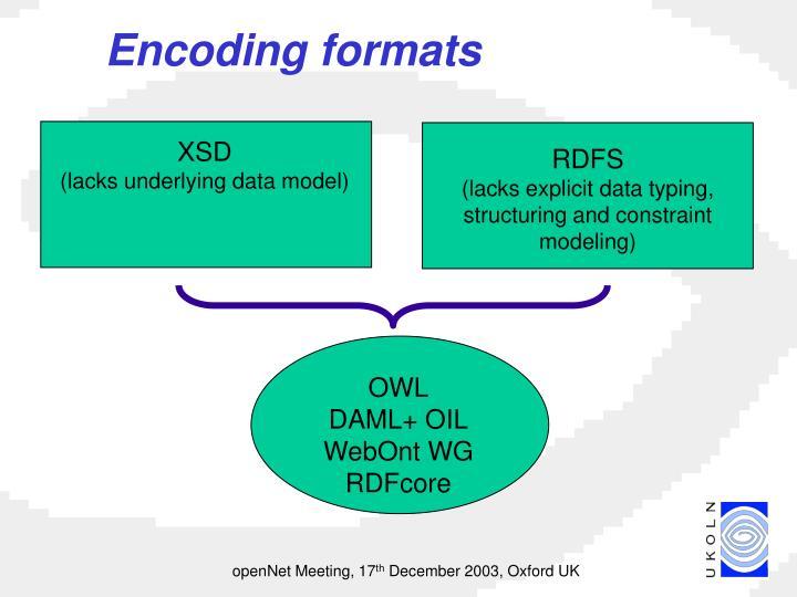 Encoding formats