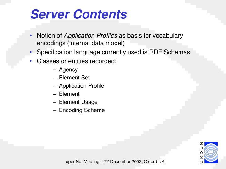 Server Contents