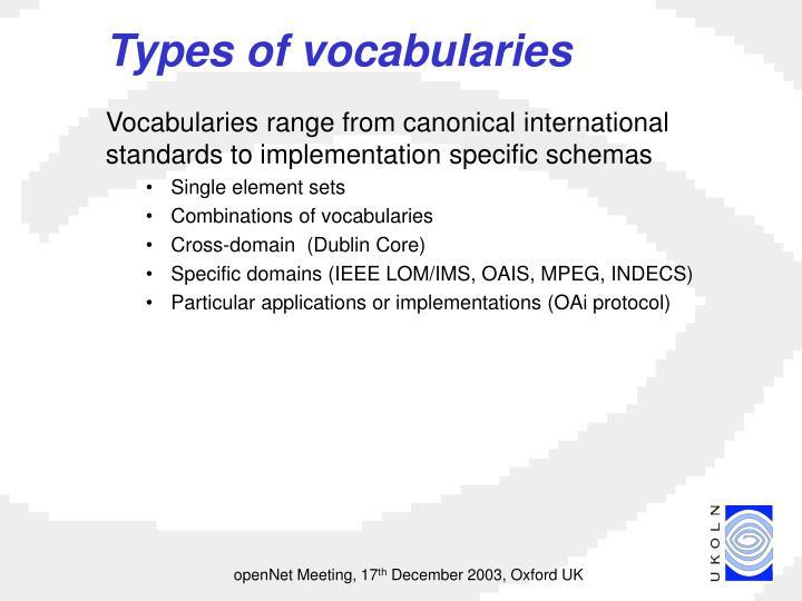 Types of vocabularies