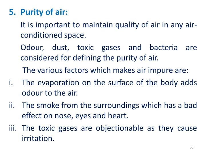 Purity of air: