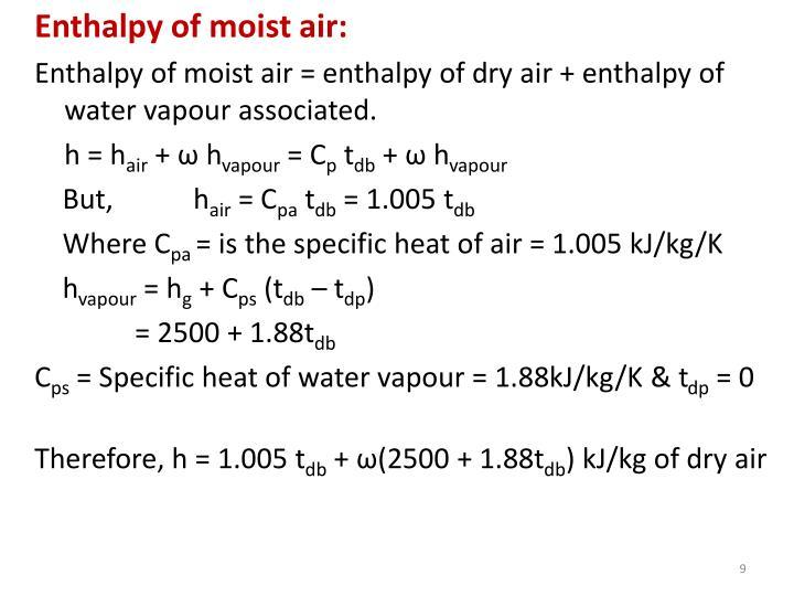 Enthalpy of moist air: