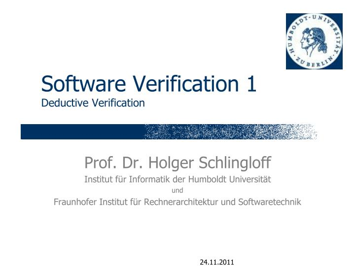 software verification 1 deductive verification n.