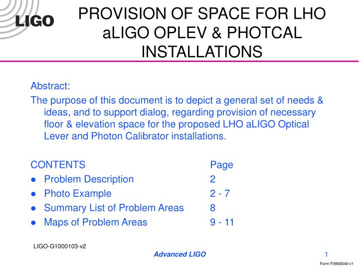 provision of space for lho aligo oplev photcal installations n.