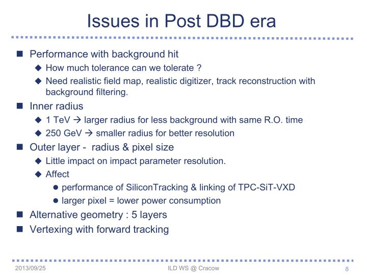 Issues in Post DBD era