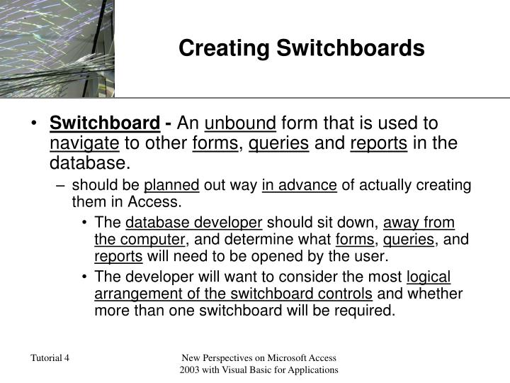 Creating Switchboards