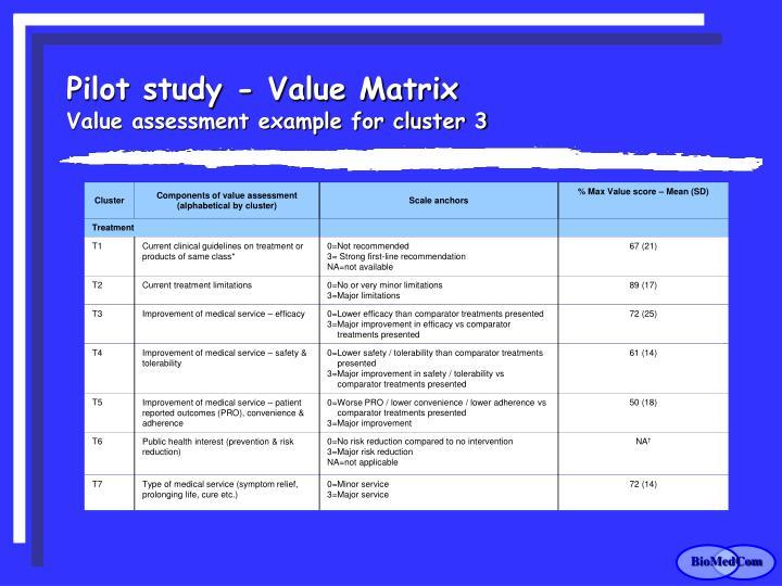 Pilot study - Value Matrix