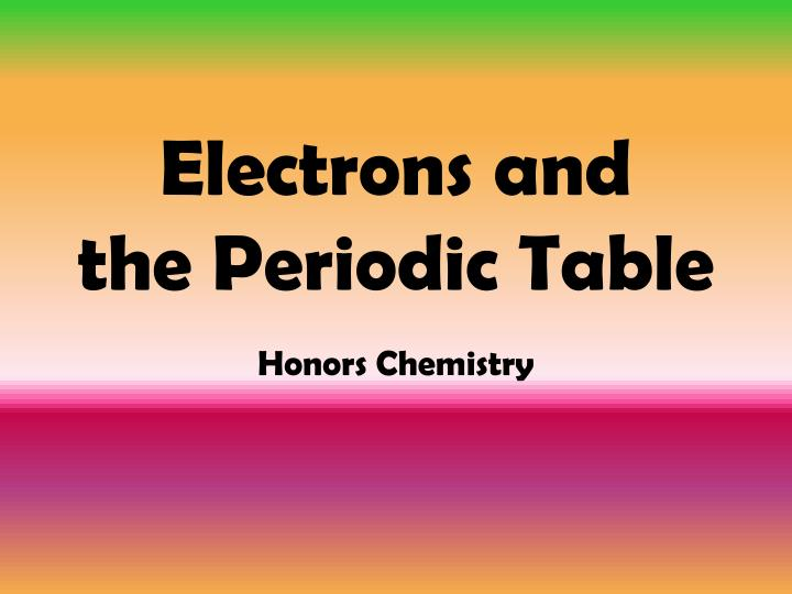 electrons and the periodic table n.