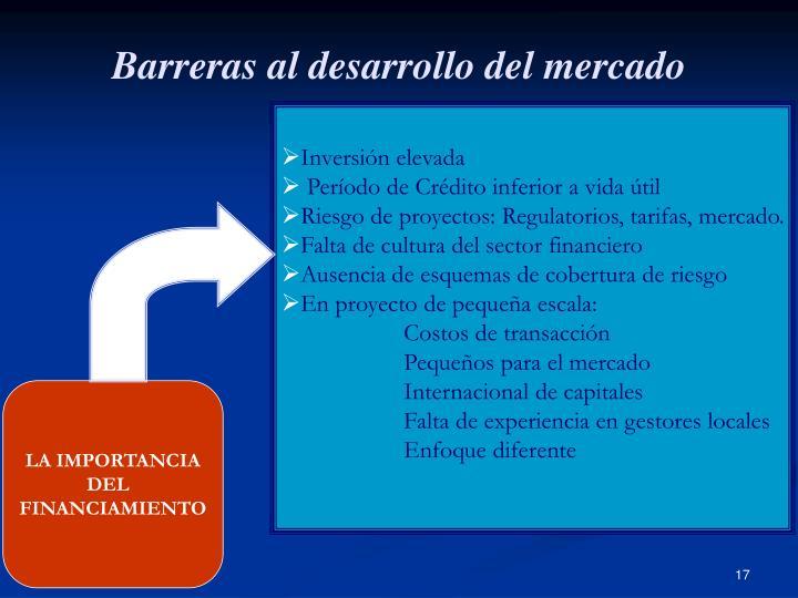 Barreras al desarrollo del mercado