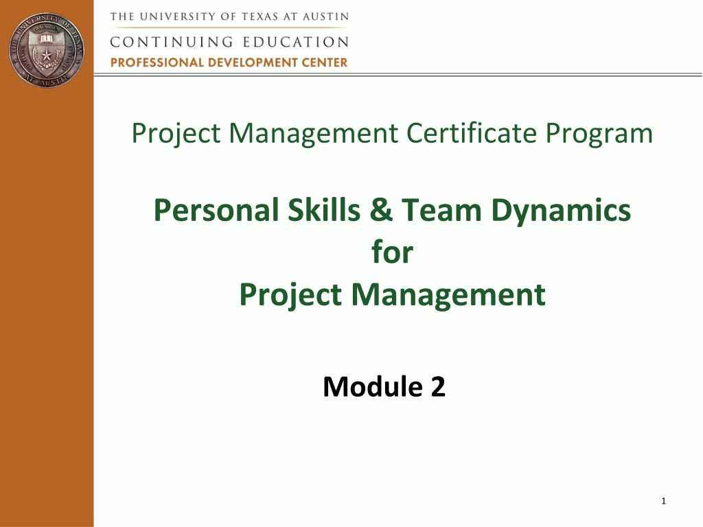 Ppt Project Management Certificate Program Personal Skills Team