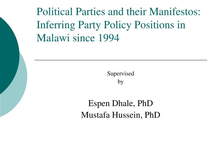 political parties and their manifestos inferring party policy positions in malawi since 1994 n.