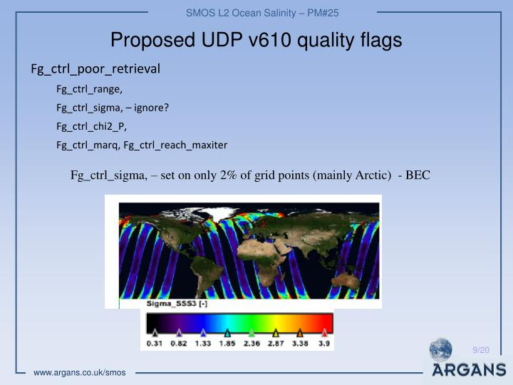 Proposed UDP v610 quality flags