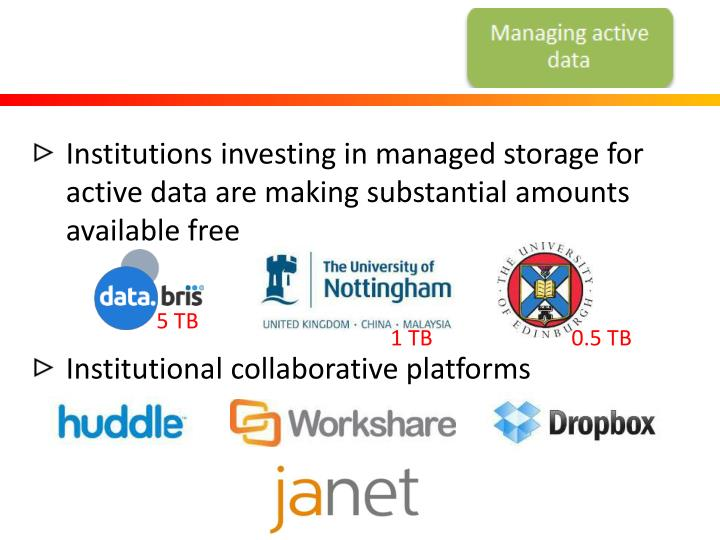 Institutions investing in managed storage for active data are making substantial amounts available free
