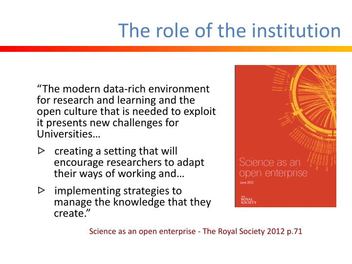 The role of the institution
