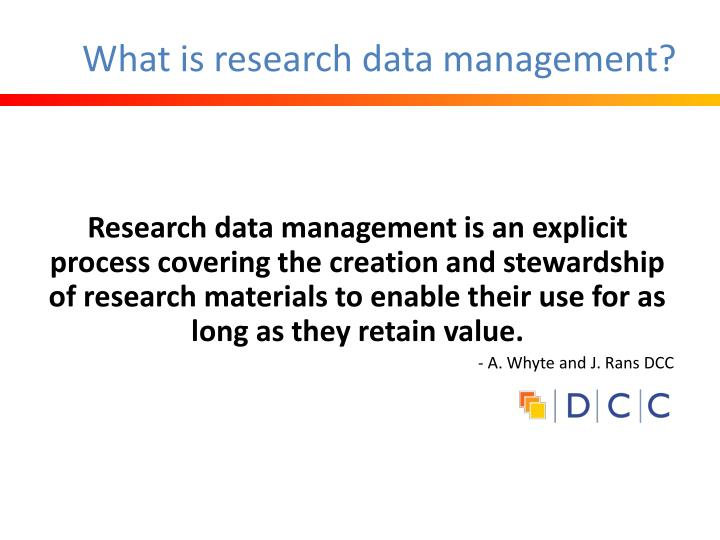 What is research data management?