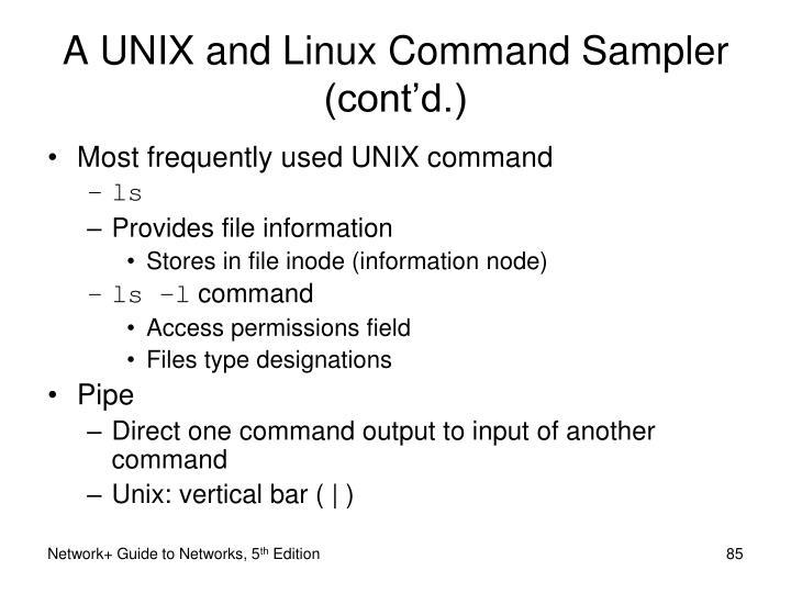 A UNIX and Linux Command Sampler (cont'd.)