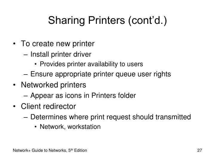 Sharing Printers (cont'd.)