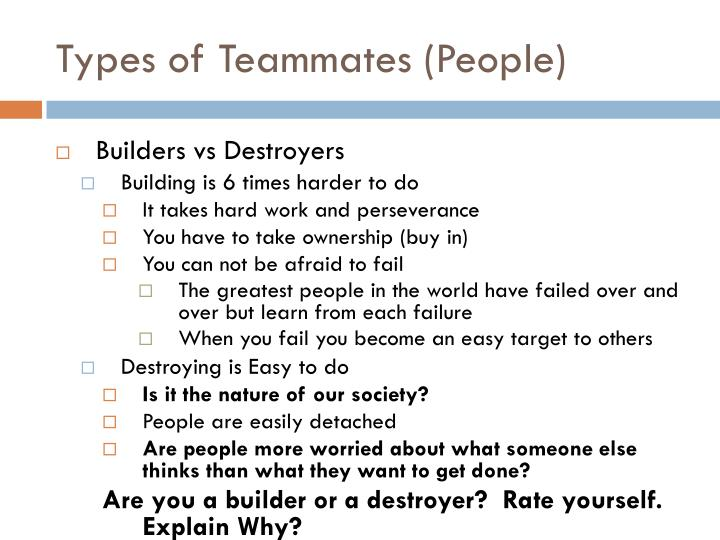 Types of Teammates (People)