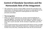control of glandular secretions and the homeostatic role of the integument
