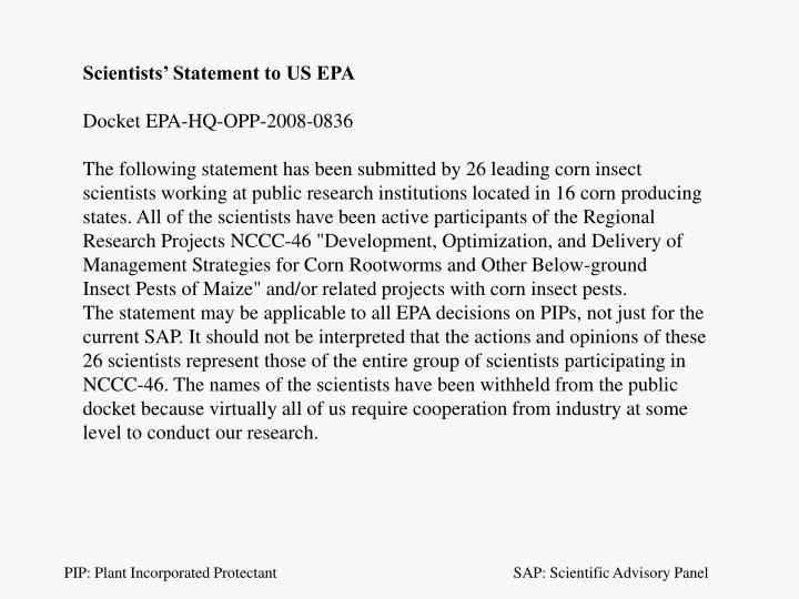 Scientists' Statement to US EPA