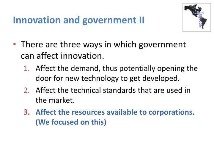 Innovation and government II