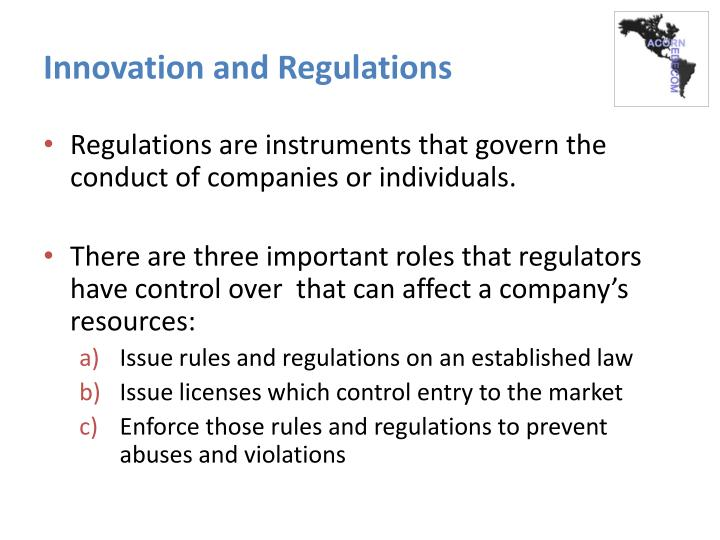 Innovation and Regulations