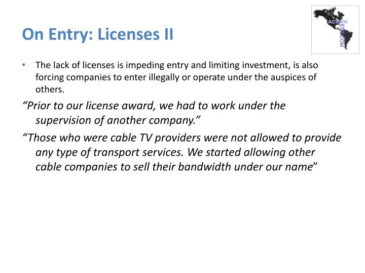On Entry: Licenses II