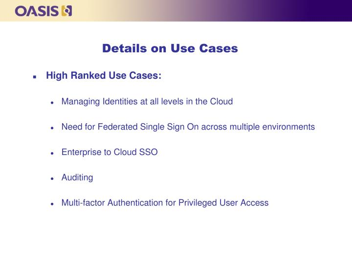 Details on Use Cases