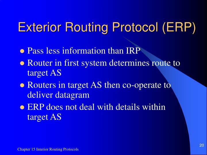 Exterior Routing Protocol (ERP)