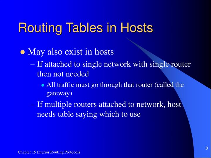 Routing Tables in Hosts