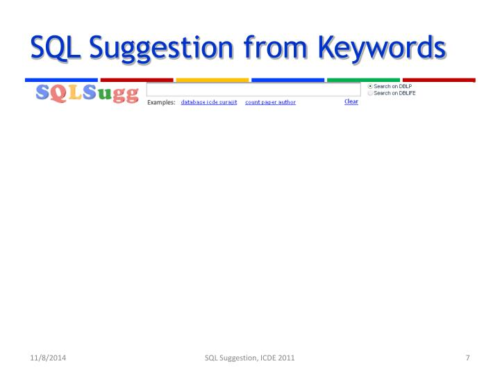 SQL Suggestion from Keywords