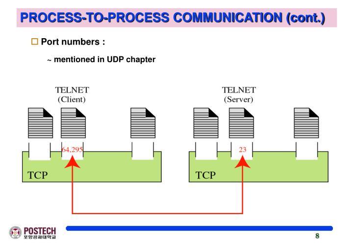 PROCESS-TO-PROCESS COMMUNICATION (cont.)