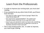 learn from the professionals