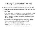 sneaky sqa marker s advice