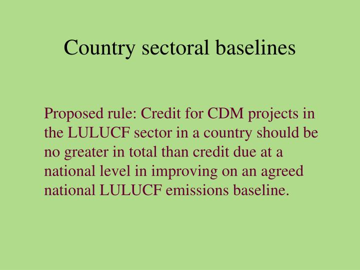Country sectoral baselines