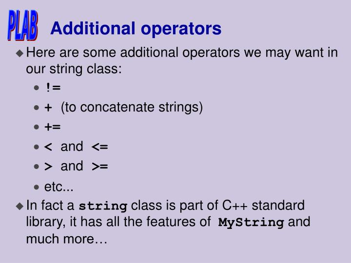 Additional operators